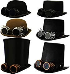 HOW DO YOU DO, GOOD SIR? BRING OUT YOUR INNER VICTORIAN INVENTOR WITH OUR FABULOUS TOP HAT AND GOGGLES COMBO THAT WILL TAKE YOU BACK IN TIME AND INTO THE FUTURE AT THE SAME TIME. BLACK VICTORIAN TOP HAT & BRONZE GOGGLES WITH BLACK LENSES INCLUDES: 58...