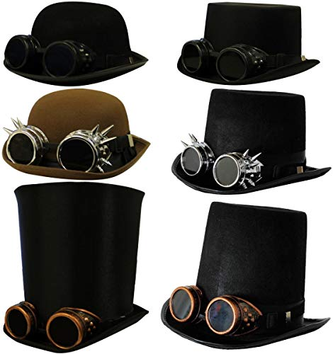 HOW DO YOU DO, GOOD SIR? BRING OUT YOUR INNER VICTORIAN INVENTOR WITH OUR FABULOUS OP HAT AND GOGGLES COMBO THAT WILL TAKE YOU BACK IN TIME AND INTO THE FUTURE AT THE SAME TIME. BLACK VICTORIAN FELT TOP HAT & SILVER SPIKED GOGGLES WITH BLACK LENSES I...