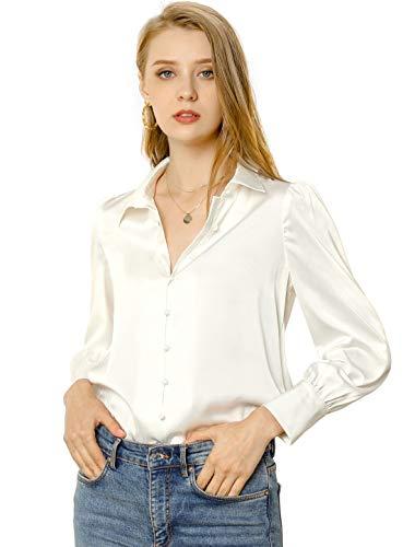 Allegra K Damen Langarm Hemdkragen Button Satin Shirt Bluse Weiß L