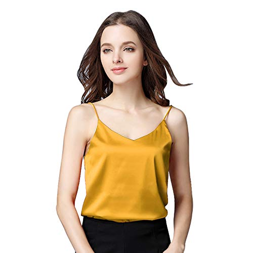 Miqieer Basic Women's Silk Tank Top Ladies V-Neck Camisole Silky Loose Sleeveless Blouse Satin Tank Shirt(Yellow,XS)