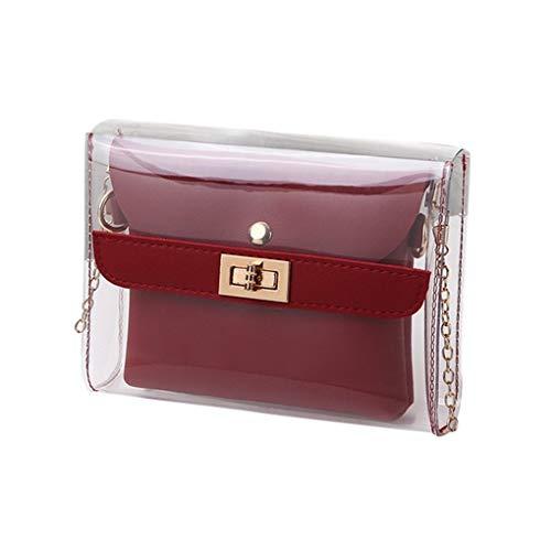 Messenger Bag/Doircal Damen Tasche Shopping Portable Transparente Umhängetasche Mode Mini Kleine Umhängetasche Transparente Mädchen Cute Bag Handtaschen(Rot,18.5cmx5cmx15cm EU)
