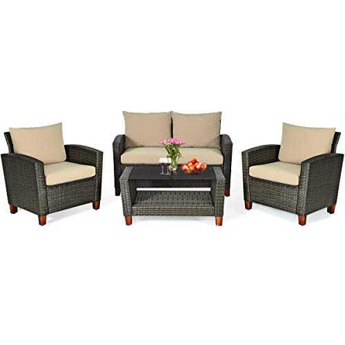 HAPPYGRILL 4pcs Patio Furniture Set Outdoor Rattan Wicker Conversation Set Sectional Wicker Sofa Chair amp Coffee Table Set for Porch Poolside Backyard