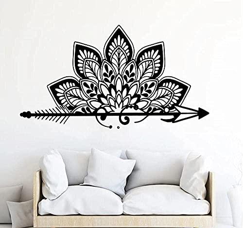 Pegatinas de pared de media flecha mandala loto coche habitación de los niños bebé guardería flecha mandala yoga dormitorio mural decoración interior pared arte papel pintado regalo 45 x 80 cm