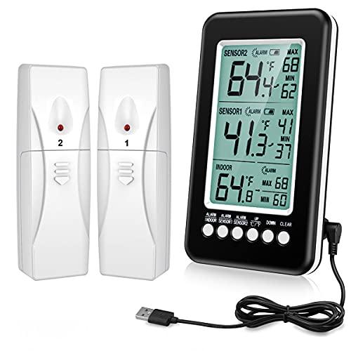 ORIA Kühlschrank Thermometer, Digitales Gefrier Thermometer mit 2 Sensor, Refrigerator Freezer Thermometer Innen Außen Thermometer, Temperatur Alarm, MIN/MAX, USB/Batterie betrieben