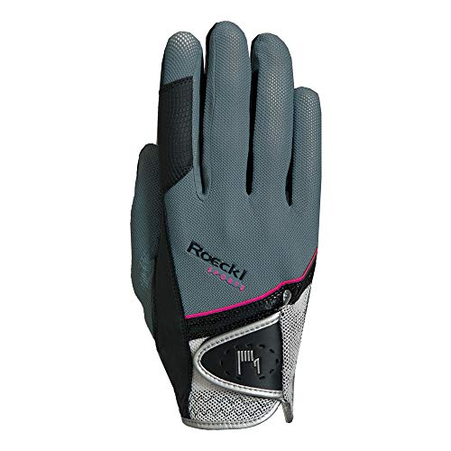 Roeckl Sports Handschuh Madrid, Unisex Reithandschuh, Grau, Größe 7,5