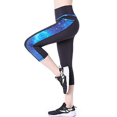 Leggings Deporte 3/4 Yoga Pantalones Mallas de Cintura Alta con Bolsillos para Mujer Azul Medium - Estrellada