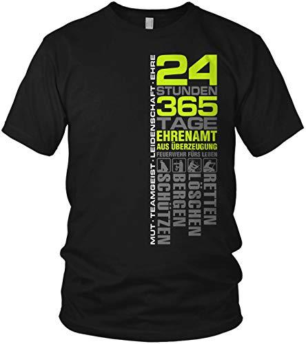 24 Stunden 365 Tage Retten, Löschen, Bergen, Schützen 112 - Ehrenamt Freiwillige Feuerwehr Spruch Motiv - Herren T-Shirt und Männer Tshirt, Größe:L, Farbe:Schwarz