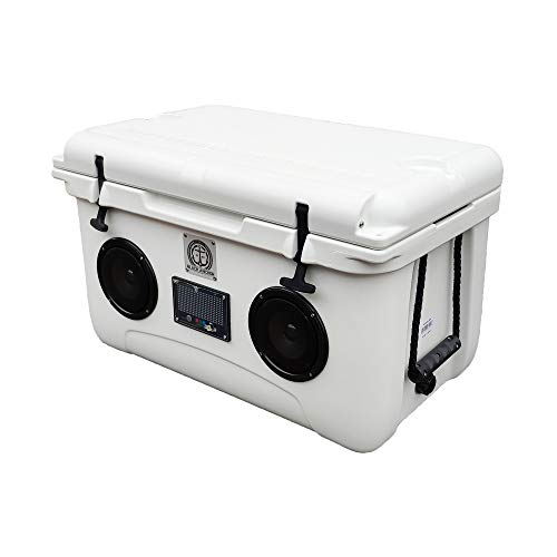 Black Anchor Rotomolded 45L Speaker Cooler IP44 Water Resistant for Parties Festivals Boat and Beach. Bluetooth 5.0 Compatible with iPhone & Android (45L, White)