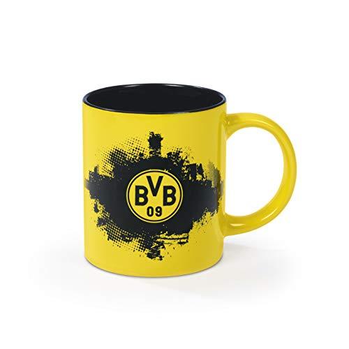 Borussia Dortmund Kaffeebecher für echte BVB Fans | Tasse mit Logo | Fanartikel | 350 ml [schwarz/gelb]