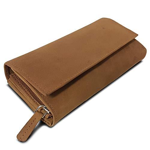 ROYALZ Vintage Leder Geldbörse für Damen Portemonnaie groß mit vielen Fächern RFID-Blocker Brieftasche Querformat, Farbe:Sonora Braun