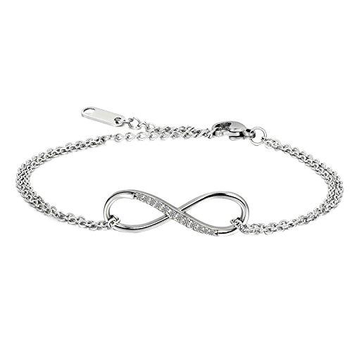 JewelryWe Joyería Pulsera de Infinito Brillante, Infinity Love El Amor Infinito con Circonitas Atractivas, San Valentín, 16.5cm Ajustable Color Plata