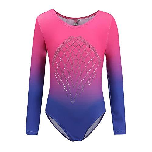 Homemust Trikots für Mädchen Gymnastik Langarm Tanzen Ballett Gymnastik Trikot für Mädchen 5-12 Jahre Farbverlauf Diamond Sparkle Design