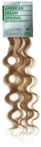 American Dream - A4/QFC12/18/18 - 100 % Cheveux Naturels - Douce Ondultation - Pièce Unique Extensions à Clipper - Couleur 18 - Blond Cendré - 46 cm