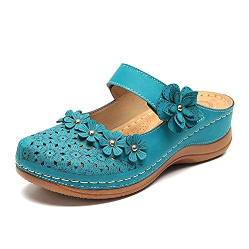 Minetom Damen Sandalen Hausschuhe Slingback Slip On Sommer Leichte Schuhe Geschlossen Flach Strandschuhe Slipper B Grün 45 EU