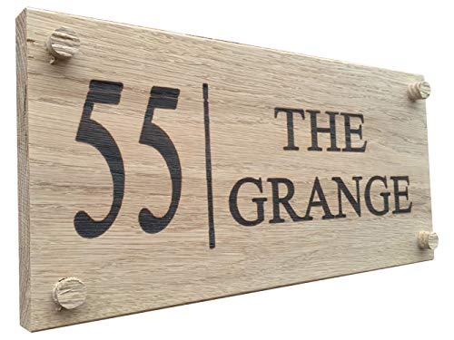 Plaque de maison en chêne personnalisable, sculptée - Plaque d'identification extérieure en bois gravée personnalisable