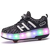 Mädchen Junge Schuhe mit Rollen Skate LED Leuchtend Heelys Schuhe Kann durch Ultraleicht Outdoor Sportschuhe Blinkschuhe Skateboardschuhe Gymnastik Sneaker