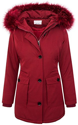 Rock Creek Designer Damen Jacke Parka Winterjacke Outdoorjacke Damenmantel Damenparka Damenjacken Kunstpelz Kapuze Warm Gefüttert Lang D-350 Dunkelrot M