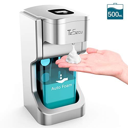 Tesecu Automatischer Seifenspender Sensorspender, Berührungslos Schaumseifenspender mit 2 Einstellbare Schaummenge für Bad & Küche 500ml