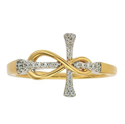 Anillo de cruz de infinito con diamantes...
