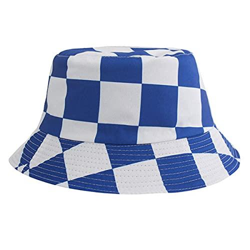 YDXC Cappello da Pescatore Estivo per Uomo e Donna Reversibile Bucket Hat Print Hip Hop Sunshine -Plaid_Blue_Taille_Unique