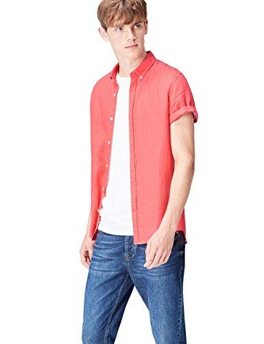 Marca Amazon - find. Short Sleeve Linen - Camisa Hombre