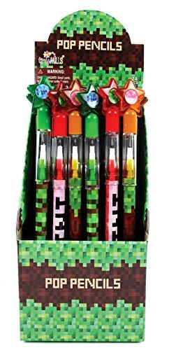 TINYMILLS 24 Pcs Pixel Miner Themed Multi Point Pencils