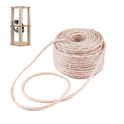 Linifar 6mm 98FT Cat Natural Sisal Rope for Scratching Post Tree and Pad Replacement, DIY Scratcher Repairing Hemp Rope for Cat Tree and Tower