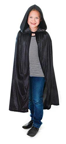 Bristol Novelty CC175 Cape à Capuche en Velours pour Enfant, Taille M, âge de 5 à 7 Ans, Noir, Medium, 88 cm