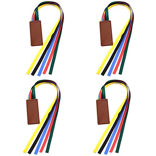 AIEX 4pcs Ribbon Bookmarks Leatherette Bookmark with 5 Colorful Ribbons Book Markers for Books Novel Bible Reading Office Accessories