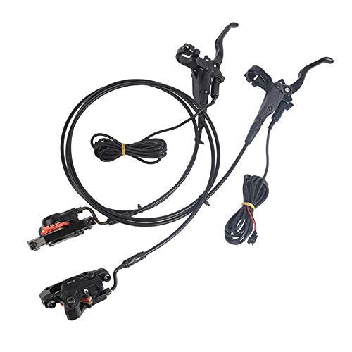 QKFON Conjunto de freno de disco hidráulico con interruptor de alimentación Aleación de aluminio Freno delantero Asamblea de freno trasero para bicicleta plegable Scooter eléctrico