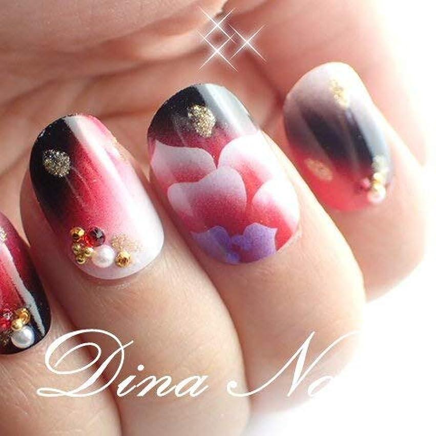 贅沢アーサー返還DINAネイル 成人式和風エアー薔薇アート スキニースクエアS(3768.11番)ネイルチップ