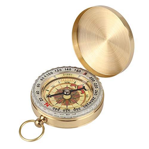 BYZESTY Brújula para exterior, brújula de bolsillo, de latón, clásica, impermeable, reloj...