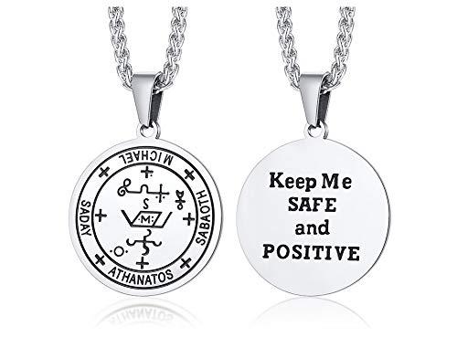 VNOX Edelstahl Wächter Erzengel Michael Sigil Amulett Schütze Mich und Positive Inschrift Gebet Halskette Anhänger für Männer