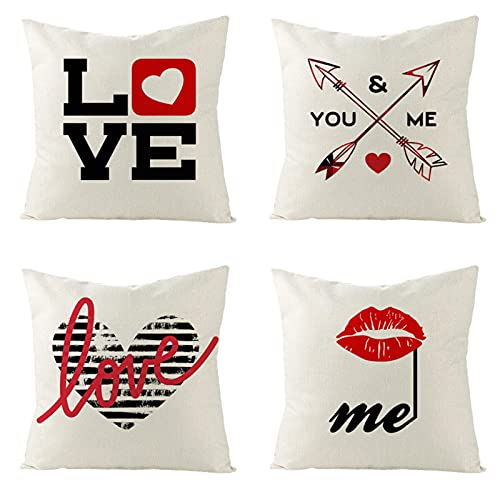 KaiXINSun Throw Pillow Fundas Paquete De 4 Fundas De Cojín De 18X18 Pulgadas Fundas De Cojín Decorativas Cuadradas Casa Funda De Sofá Cremallera Invisible Amor Labios Rojos Flecha