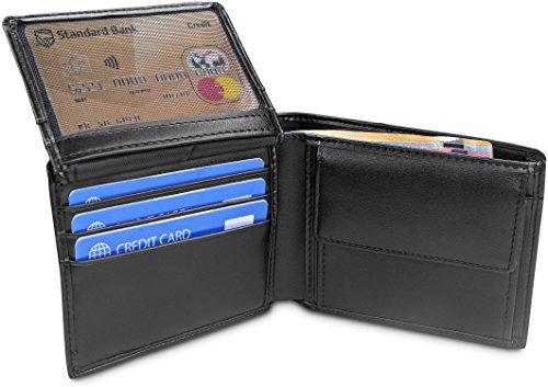 TRAVANDO ® Portafoglio Uomo 'BERLIN' con protezione RFID | Porta Carte di Credito nero con Portamonete, Borsellino, Portafogli in formato Orizzontale | Porta Banconote | Wallet con Portamonete