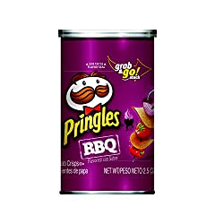 Pringles Potato Crisps Chips, BBQ Flavored, Grab and Go, 2.5 oz Can