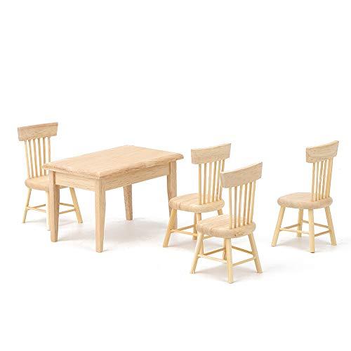 Muebles en miniatura de casa de muñecas, silla de mesa de comedor de casa de muñecas, hecho a mano DIY 1:12 adultos para niños(Table and chair set)
