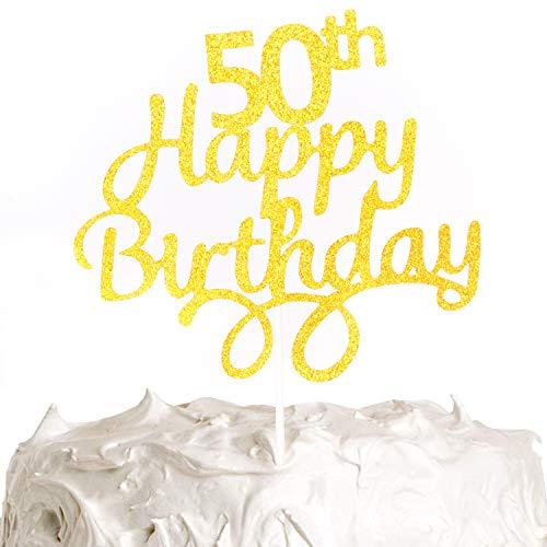 PartyWoo Cake Topper Compleanno, Topper Torta Compleanno di 50 anni, Decorazione Torta Compleanno, Happy Birthday Cake Toppers, Buon compleanno Topper, Decorazione Torta (Oro)