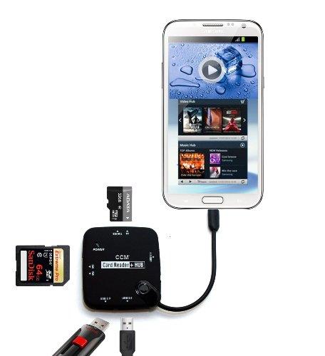 NOVAGO OTG Host Micro USB Adaptador para Samsung Galaxy S5/S6/S6edge/S7/S7Edge/S6Edge Plus, Samsung Galaxy Note 2/3/4/5,Galaxy Tab 3 (8'' /10''), Galaxy Tab Pro 12.2'', LG G3, G4(Lector de Tarjeta)