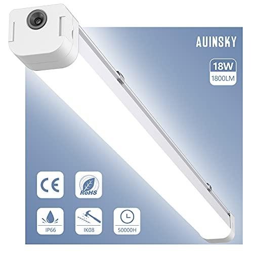 Tubo LED, AUINSKY 72CM 18W 4000K Fluorescente LED IP66 Resistente al Agua y al Polvo para Garaje, Oficina, Supermercado, Bodega [Eficiencia Energética A++]