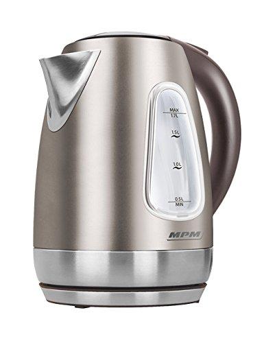 MPM MCZ-55/B Hervidor de Agua Electrico Inalambrico de Acero Inoxidable, 1,7 Litros, 2200W, Libre de BPA, Beige