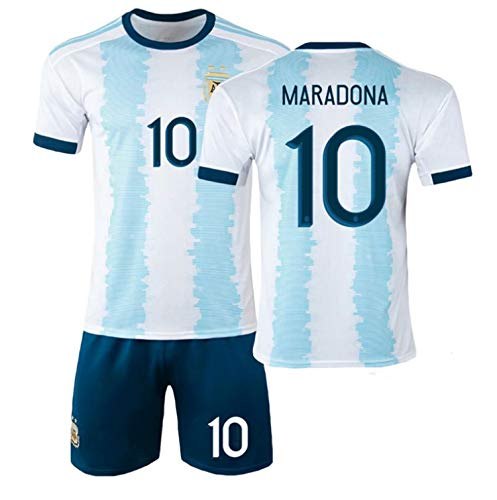 Diego Maradona #10 Argentina Home Soccer Jersey Commemorative Football Jersey Set 1986 Argentina World Cup Football Commemorative T Shirt - The Left Hand of God Forever, (2020 Home, XXL)