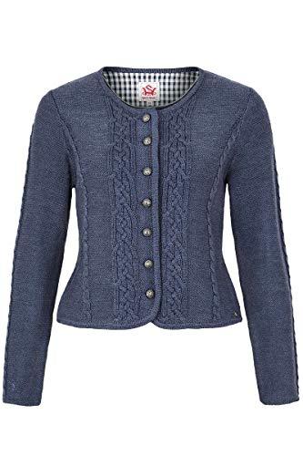 Spieth & Wensky Damen Damen Trachten Strickjacke mit Zopfmuster Jeansblau, Jeansblau (blau), S