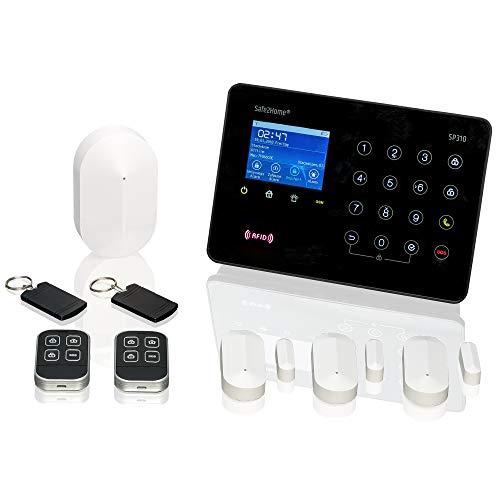 Safe2Home® Funk Alarmanlagen Basis Set SP310 Profi - Sabotageschutz Rolling Code - wechselnde Frequenz deutsch GSM Alarmsystem mit SMS Alarmierung - Alarmanlagen fürs Haus Büro inkl. Zubehör
