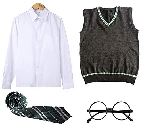 FStory&Winyee Zauberer Zubehör Set Kinder Erwachsene Fanartikel Fasching Outfit Zubehör Set Krawatte, Hemd/Bluse, Rock, Weste, Brille