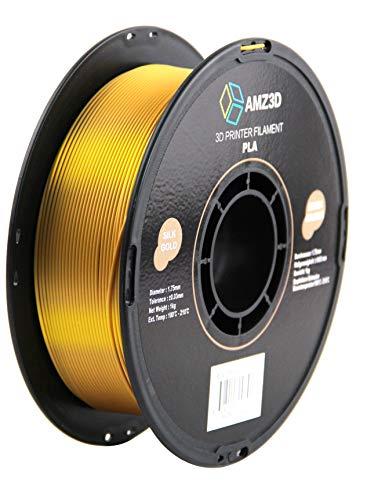 Filamento para impresora 3D PLA de 1,75 mm de oro de seda, carrete de 1 kg (2.2 libras)