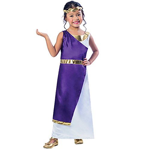 amscan 9901697 Elegante disfraz de niña romana con diadema de hojas doradas - Edad 5-6 años - 1 PC
