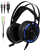 Cosbary Ps4 PC Gaming RGB Headset with Microphone 2in1 Adapter Compatible with Xbox