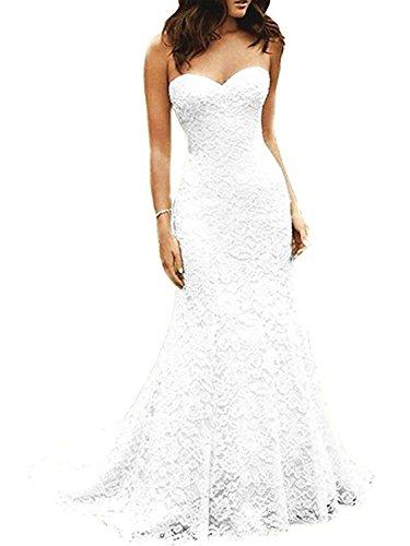 JAEDEN Brautkleid Damen Hochzeitskleider Lang Meerjungfrau Spitze Festkleider Schleppe Herzausschnitt Weiß EUR50