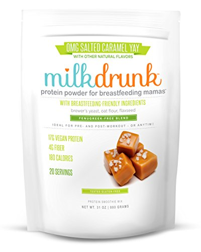Milk Drunk Fenugreek-Free - Salted Caramel Dairy Free Protein Powder for Breastfeeding - 20 Servings of Vegan Protein & Lactation-Boosting Ingredients - Oats, Flax, Brewer's Yeast - Gluten Free